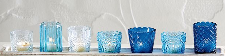 BLUE GLASS VOTIVES each