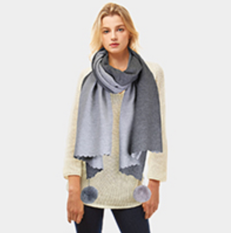 Cashmere Feel Two Side Pom Pom Scarf