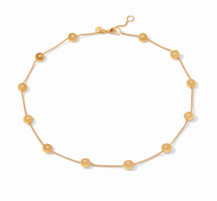 Poppy Delicate Station Necklace Gold Cz