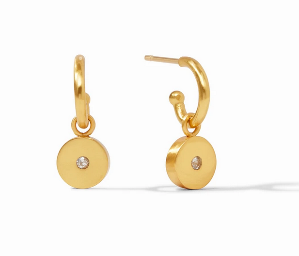 Poppy Hoop & Charm Earring Gold Cz