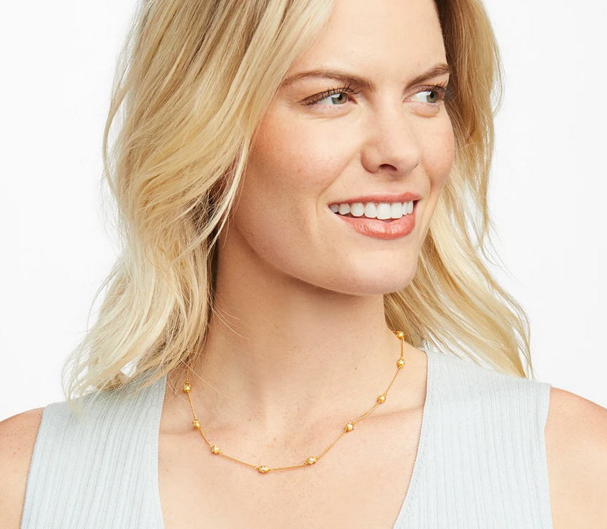 Penelope Delicate Station Necklace Gold Pearl