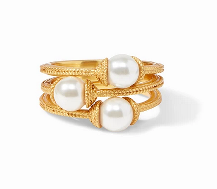 Calypso Pearl Stacking Ring Gold (Set of 3) Size 7