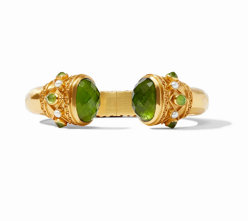 Savannah Hinge Cuff Gold Iridescent Jade Green Endcaps and Pearl Accents