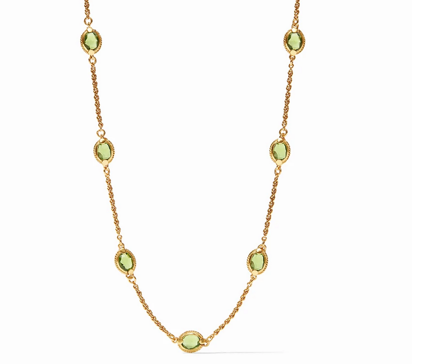 Calypso Demi Delicate Station Necklace Gold Jade Green or Rouge