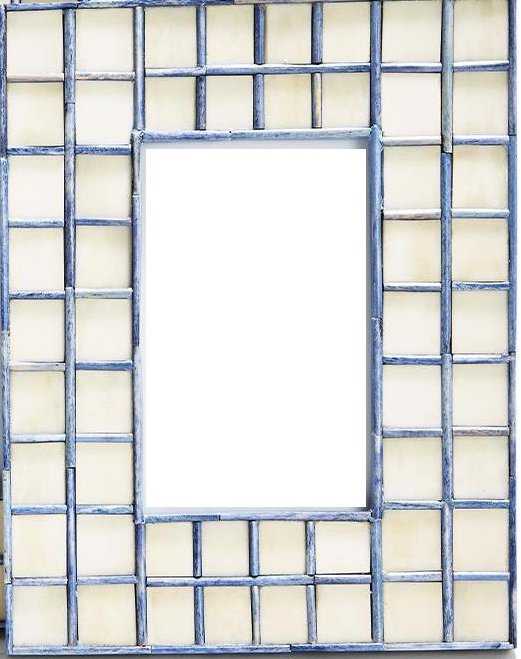 Natural and Blue Tiled Photo Frames