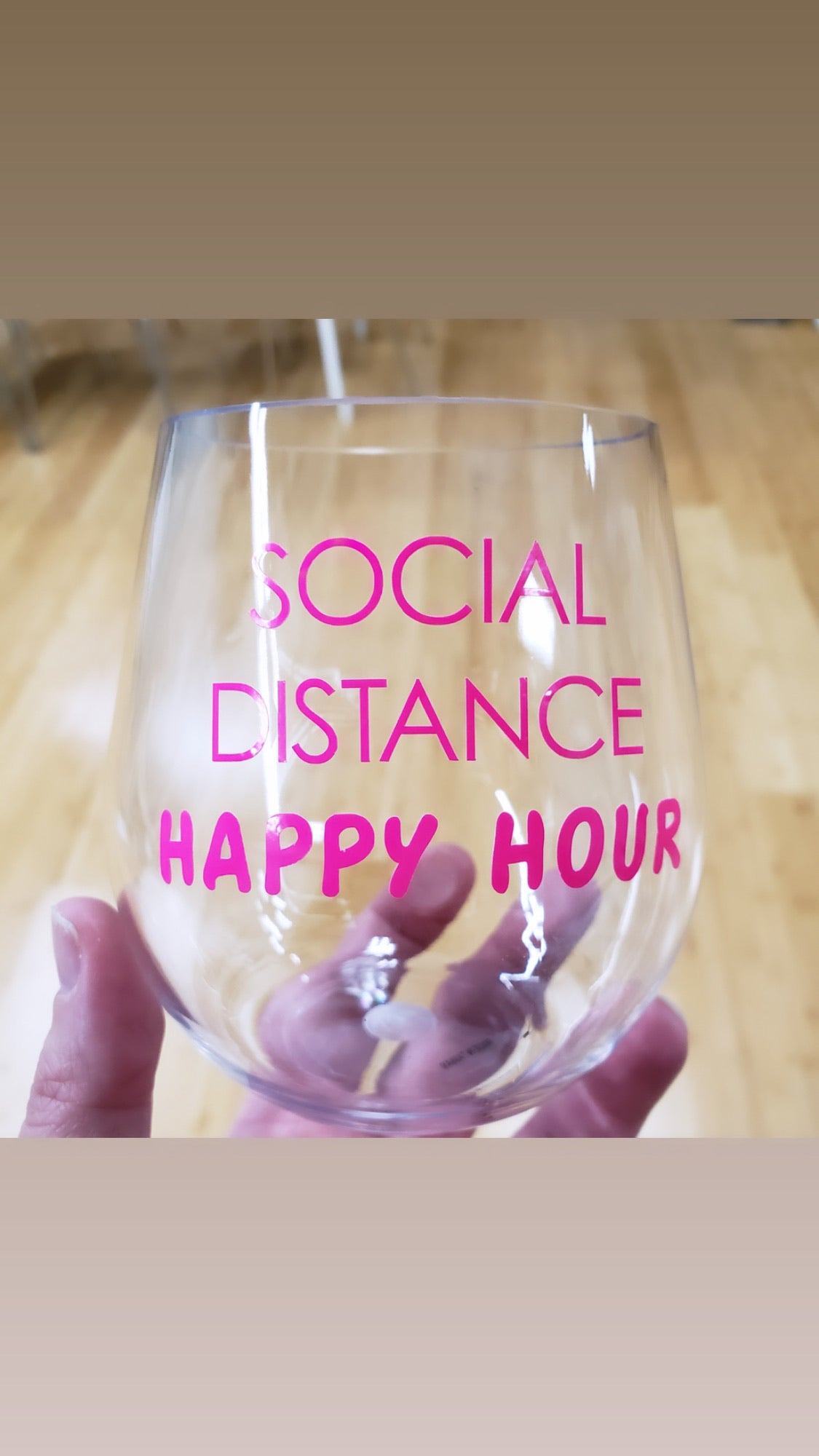 Social distancing happy hour stemless wine glass