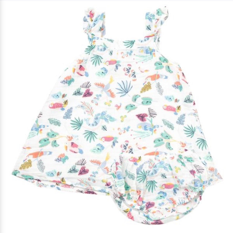 Tropical Birds Sundress/Diaper cover 6-12m