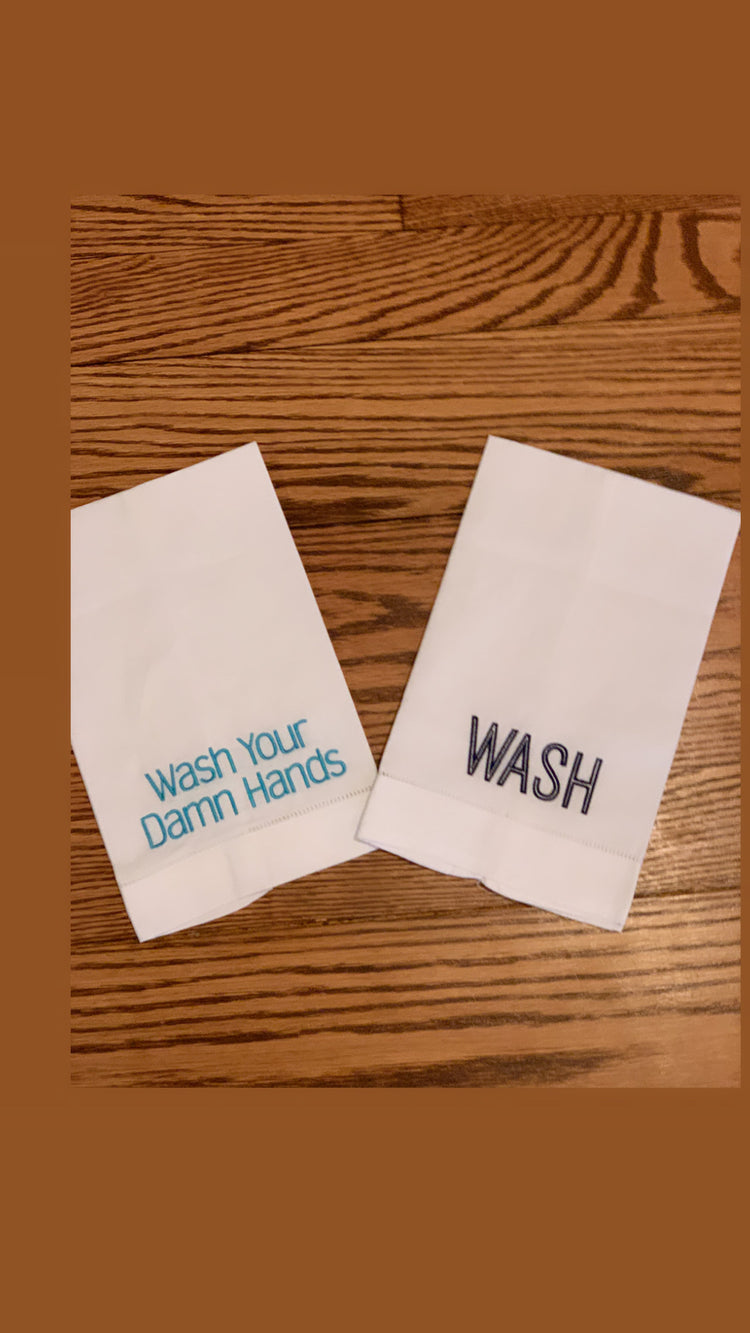 Wash your damn hands linen towel