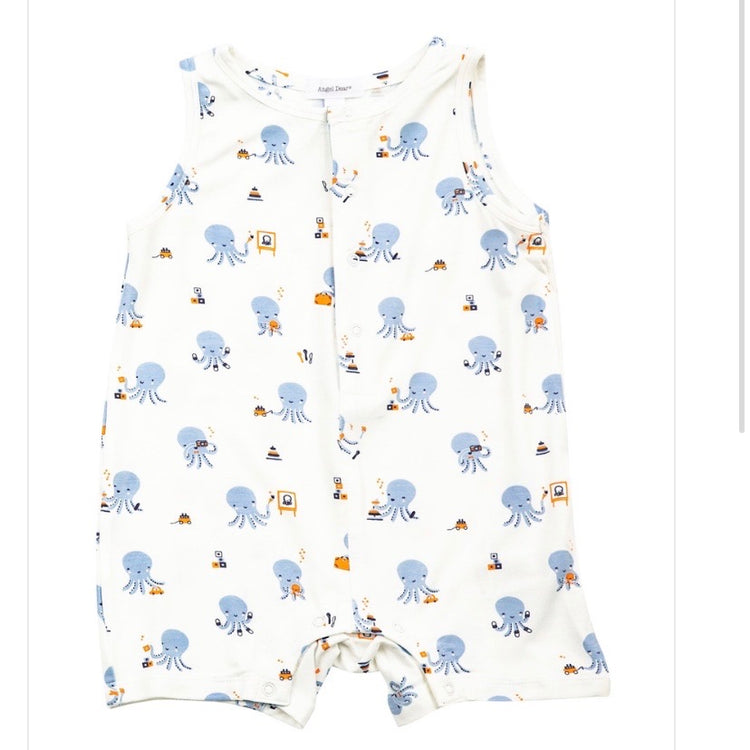 Octopus Playtime Sleeveless Shortie Romper Blue 6-12M