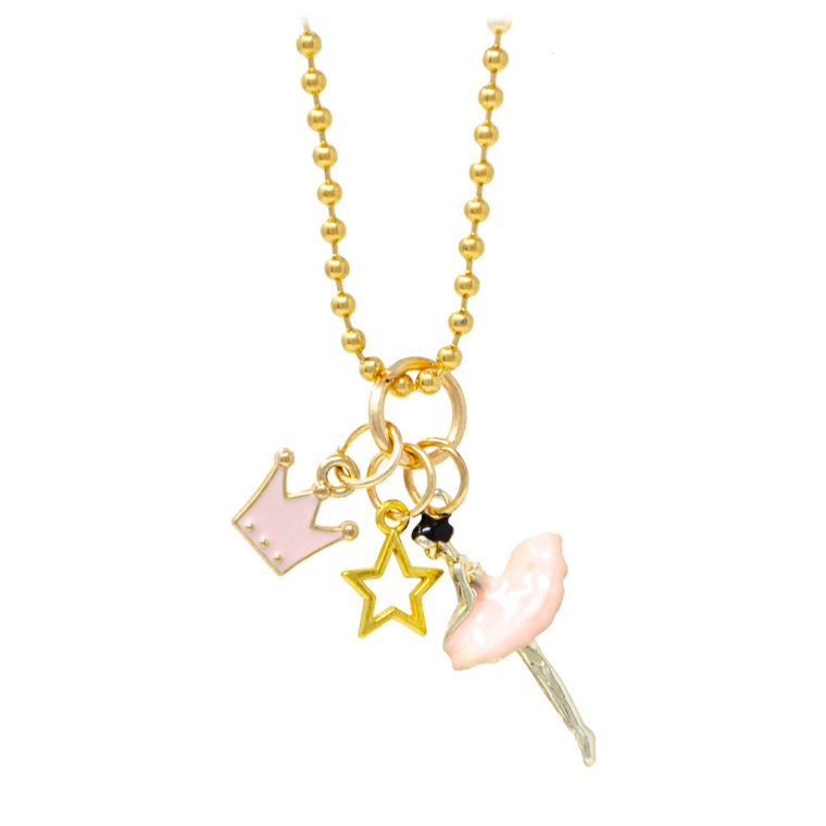 Ballerina, Crown and Star Necklace