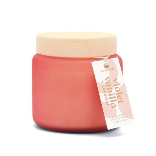 Lolli Frosted Glass Candle with Opaque Glass Lid