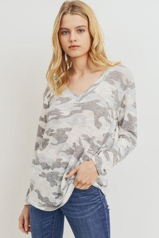 Camo V-Neck Drop Shoulder Knit Top