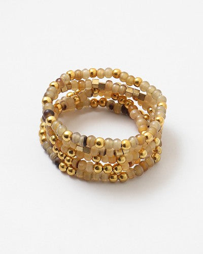 Stackable Beaded Gold Fall Bracelet