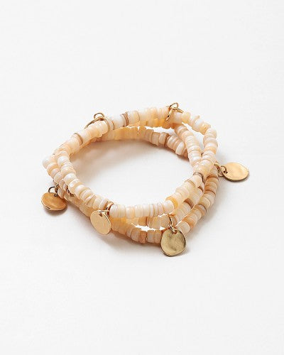 Stackable Natural Bracelet with Gold Discs