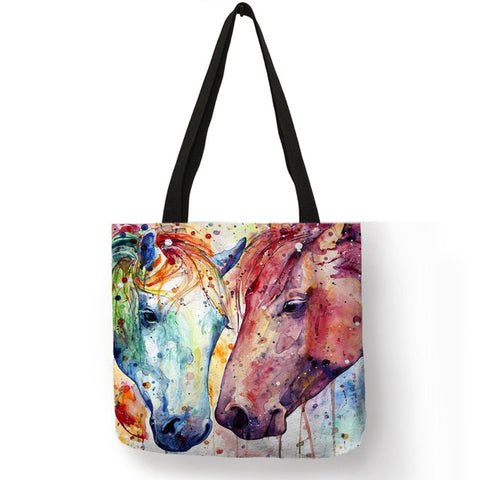 Watercolor Horse Print Tote
