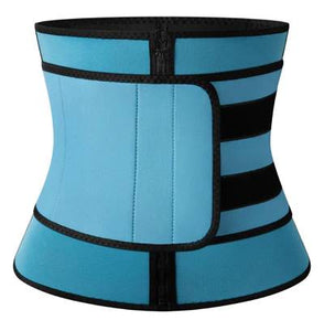 Neoprene Core Burner, blue, zipper closure with a belt for adjustable compression. (Front view)