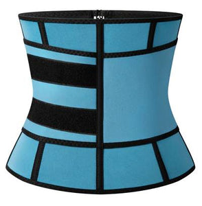 Neoprene Core Burner, blue, zipper closure with a belt for adjustable compression. (Side view)