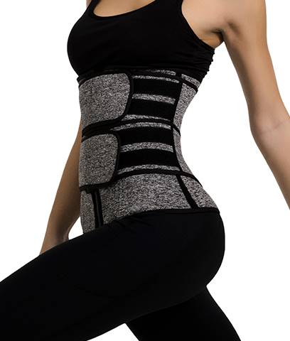 Neoprene Core Burner, grey, zipper closure with two belts for adjustable compression.