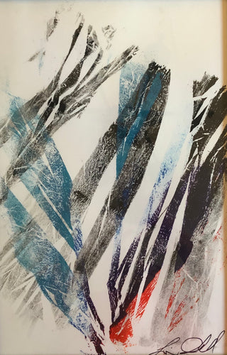 Abstract Mono print rainbow