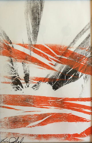 Abstract Mono print orange