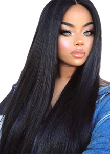 Synthetic Lace Front Wig Long Straight Wig Soft Hair Natural Hairline Heat Resistant for Women's Long Wig Black Color