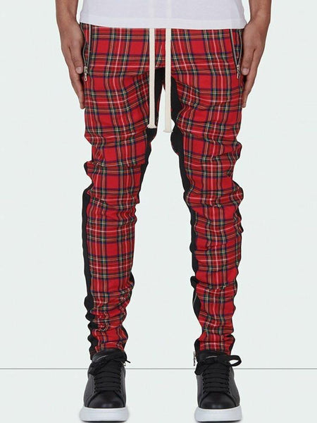Pencil Pants Plaid Zipper Mid Waist Four Seasons Casual Pants