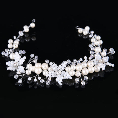 Pearl Inlaid Hairband Plant Engagement Hair Accessories