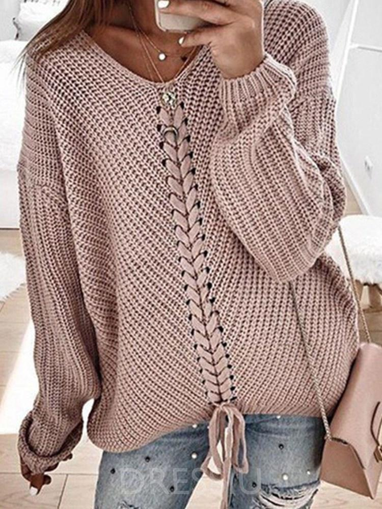 Regular Lace-Up Long Sleeve Loose Sweater