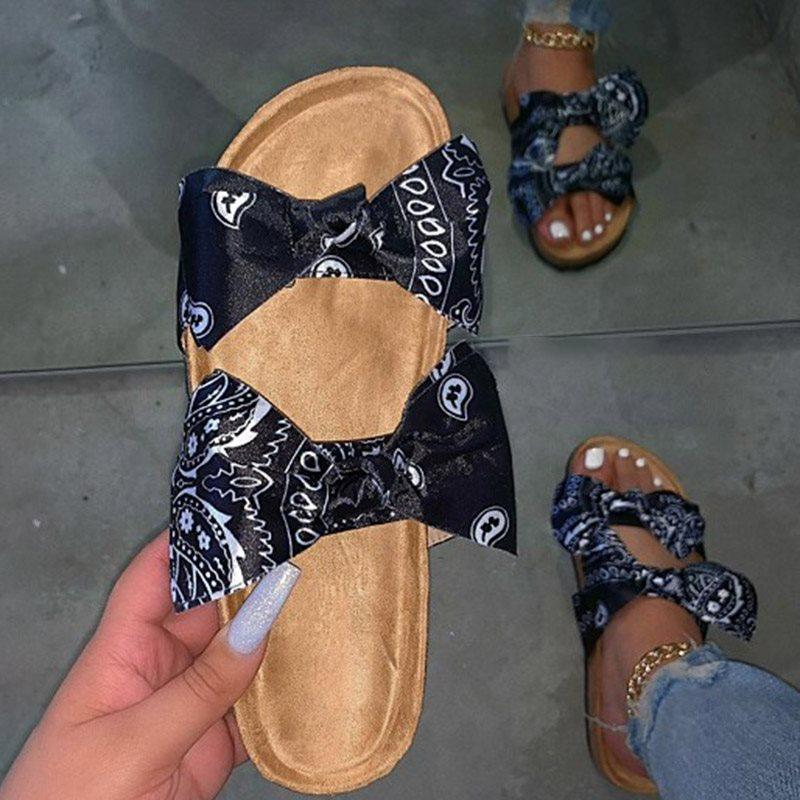 Bow Flip Flop Flat With Slip-On Color Block Casual Slippers