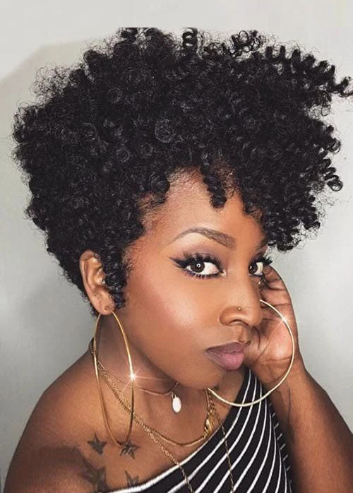Black Short African American Wigs Curly Capless Synthetic Hair