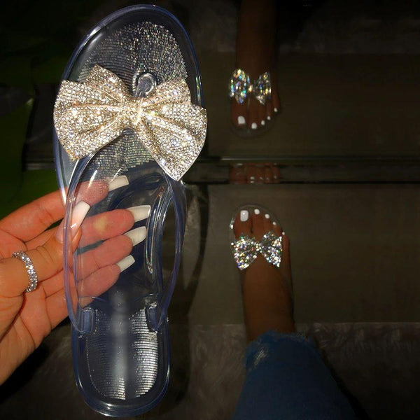 Slip-On Block Heel Thong Bow PVC Casual Slippers