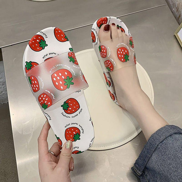 Flat With Slip-On Flip Flop Print Rubber Summer Slippers