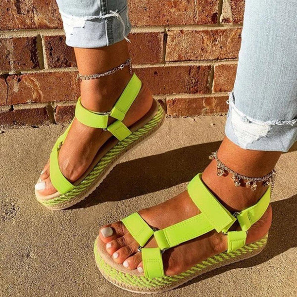 Platform Velcro Open Toe Low-Cut Upper Plain Sandals