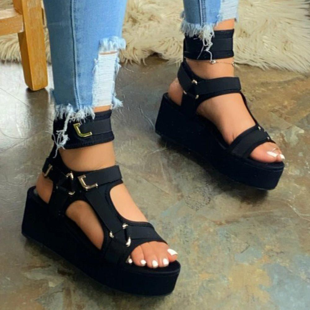Platform Buckle Open Toe Strappy Buckle Sandals