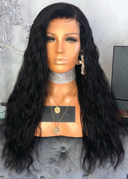 Lace Front Cap Synthetic Hair Long Black Women's Wigs