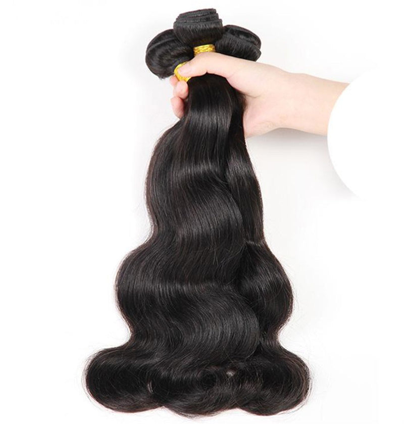 Unprocessed Peruvian Virgin Human Hair Extensions Body Wave Black Hair 3 Bundles