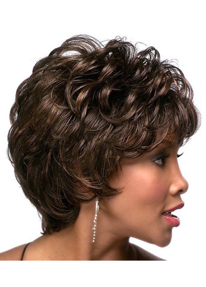 Black-Brown Wavy Capless Synthetic Hair Short Wigs With Bangs