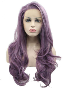 Purple Long Hairstyle Women Wavy Capless 22 Inches Synthetic Hair Wigs
