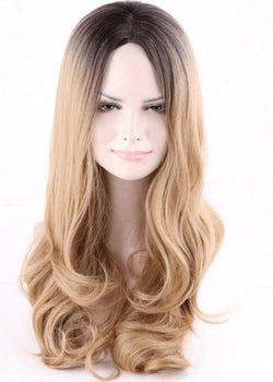 Brown Long Capless Synthetic Hair Women Wavy Wigs 26 Inches