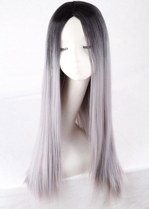 Middle Length Straight Synthetic Hair Women Capless Gradient Ash Wigs