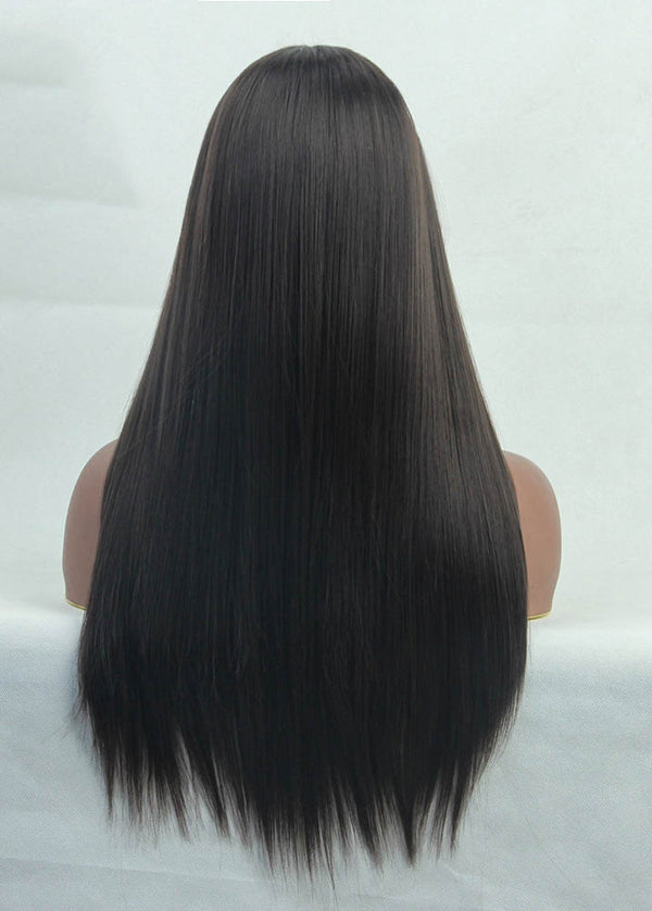 Brown Ladies Long Straight Hairstyle Synthetic Wigs