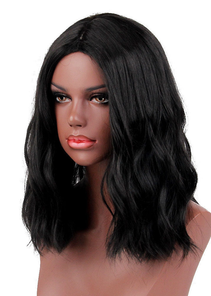 Stylish Europe and America Women Black Shoulder Length Synthetic Hair Wigs