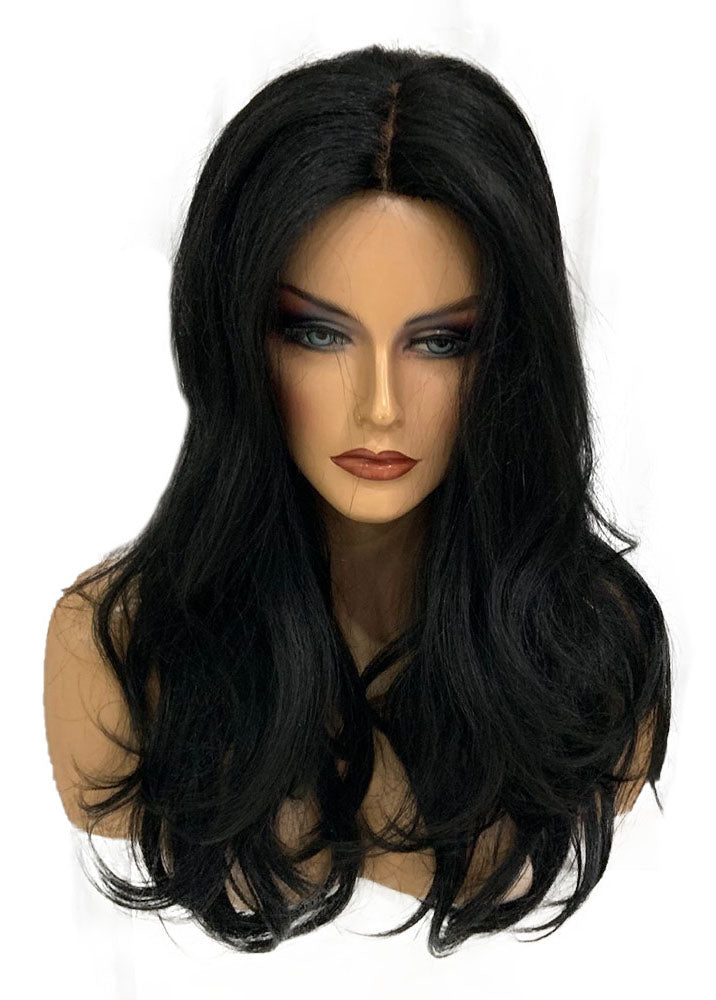 Black Mid-point Natural Long Curly Hair 24 Inches Human Hair Wigs
