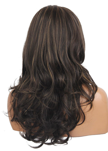 Stylish Brown Mixed Color Long Women Curly Synthetic Hair Wigs