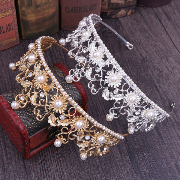 Fashion Sun Flower Pearl Tiara Crown Hair Accessories