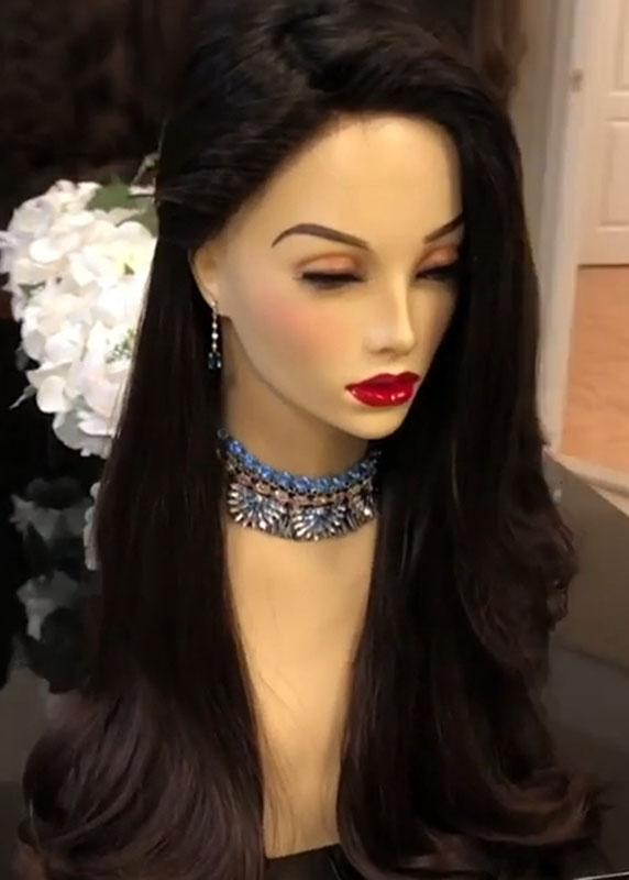 Long Black Wave Wig 26 Inches Women's Synthetic Hair