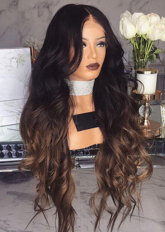 Gradient Long Wavy Synthetic Hair Capless 28 Inches Wigs