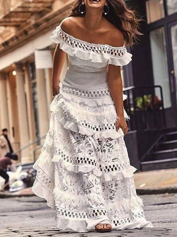 Cap Sleeve Floor-Length Off Shoulder Elegant Pullover Dress