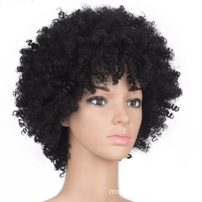 African Short Black Curly Synthetic Hair 4 Inches Wigs For Black Women