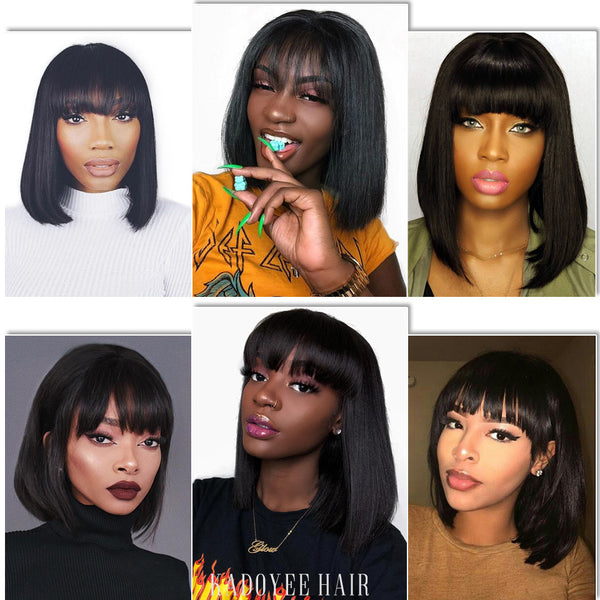 Natural 12 Inches Straight Human Hair Wigs With Bangs